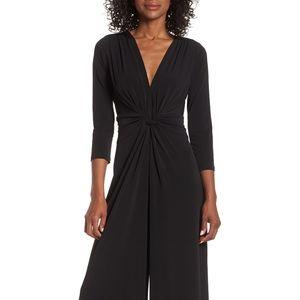 Eliza J Black Long Sleeve Elegant V Neck Jumpsuit